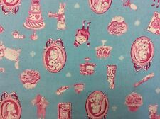 GT07 Alice In Wonderland White Rabbit Tea Cakes Canvas Weight Linen Blend Fabric