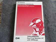 2004 Honda TRX400 Owners Manual TRX 400 FGA Fourtrax Rancher AT with GPScape