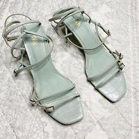 Zara Strappy Square Toe Kitten Heel Sandals Seafoam Leather Women's Size 38