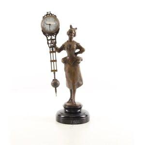 9973805-ds Bronze Skulptur Figuren-Uhr Frau Mädchen 15x12x33cm
