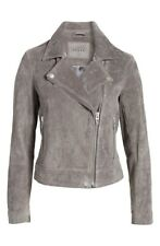 BLANK NYC Grey Suede Leather Moto Jacket Zip  SZ M NEW