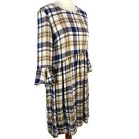 M&S Size 10 White Cream Blue Check Long Sleeve Knee Length Empire Dress Autumn