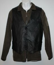Brown Leather JOFAMA Button Biker Cowboy Western Casual Vest Waistcoats Size 56