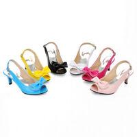 New Womens Peep Toe Slingback Bowtie Block High heels Pumps Dress Shoes All Size