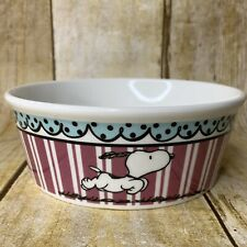 Peanuts Snoopy Round Pet Bowl Pink Stripes Stoneware 5 inches Toy Dog Cat Size