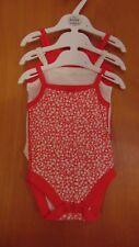 M&S Set of 3 100%Cotton Sleeveless Bodysuits 0-3m 62cm Red Mix BNWT