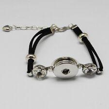 Bracelet pour Bouton Pression Snap en Daim Synthétique Métal et Strass 19cm