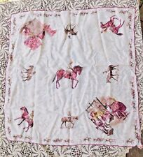 Vintage 1950's Hand Rolled Rayon Lee Fashion Horse Racing Women'S Scarf