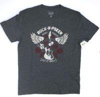 Lucky Brand Men's Graphic Rock N Poker Short Sleeve Tee T Shirt, Gray