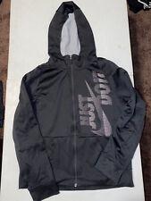 Youth Xl Nike Sportswear Hooded Full Zip Jacket Black Boys Spellout