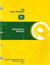 "JOHN DEERE 388 LAWN SWEEPER OPERATOR'S MANUAL  jd ""NEW"""