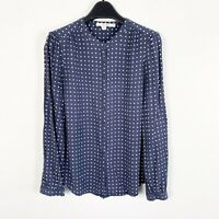 Boden Womens Long Sleeve Polka Dot Navy Blue White Button Down Blouse Size 6