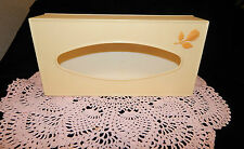 VINTAGE IVORY & GOLD FESCO PLASTICS TISSUE/KLEENEX BOX~VANITY OR WALL~MINT COND.