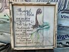 Antique Rustic Style Mermaid Rules Wooden Sign Nautical Decor 12x12