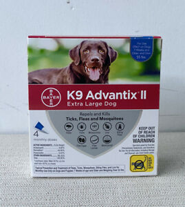 New K9 Advantix II for Extra Large Dogs Over 55 lbs - 4 Pack - 100% Authentic