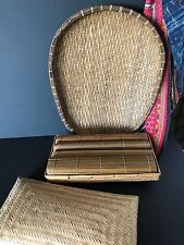 Vintage Bamboo / Rattan Table Set with Place Mats & Center Piece …beautiful...