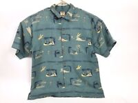 TOMMY BAHAMA Silk Hawaiian Shirt Men's Large Beach shirt Palm trees green EUC