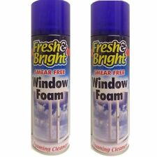 2 x Fresh and Bright Smear-Free Window Cleaning Foaming Cleaner Spray New 500ml