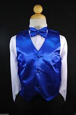 Children Teen Boys ROYAL BLUE VEST + BOW TIE for Wedding Suits Tuxedo Sz S-28