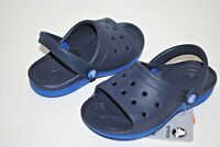 NEW NWT CROCS DUET SCUTES KIDS 8/9 10/11 12/13 kids NAVY / SEA BLUE shoes slides