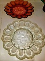 Indiana Amber or White Glass Hobnail  Deviled Egg Relish Plate Tray
