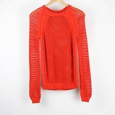 Fenn Wright Manson Womens Sweater Open Knit Long Sleeve Size Medium Orange AK14