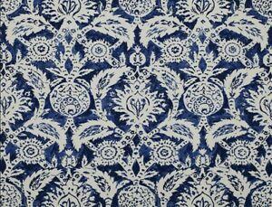 Jim Thompson No. 9 Blue Painted Damask Print Upholstery Fabric Vizier / Sapphire