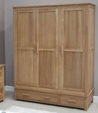 Eton solid oak modern furniture large triple bedroom wardrobe