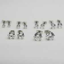18K/18ct White Gold Plated Clear Round Cubic Zirconia CZ Stud Earrings Unisex
