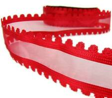 """2 Yds Valentine Cut Out Red Roses Sheer Wired Ribbon 1.5""""W"""
