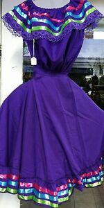 Girls Full Super Wide Skirt & Top Set Dress W/Ribbons For Folklorico Dances NWOT