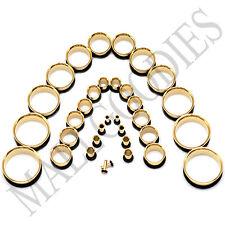 "V043 Single Flare Gold Steel Flesh Tunnels Earlets Ear Plugs Gauges 10G to 2"""
