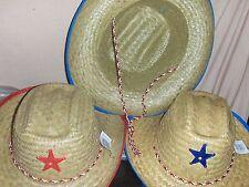1 Childrens Western Straw Cowboy Cowgirl Sheriff Star Hat