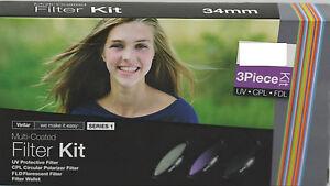 Vivitar 3 Piece HD Pro Filter Set 58mm UV CPL FLD Canon 18-55mm 55-250mm 75-300