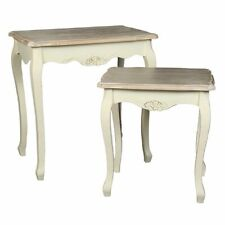 Nesting Tables, Two Side Tables in Country House Style, 2 Antique Cream White