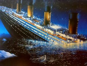 The RMS Titanic - Iconic History Ship Sinking Wall Art Poster / Canvas Pictures