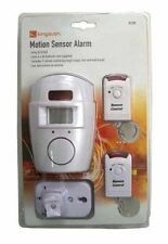 MOTION SENSOR PORTABLE WIRELESS ALARM - 2 REMOTE CONTROLS FOR GARAGE GARDEN SHED