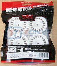 Tamiya 54851 Rally Dish Wheels (24mm Width, Offset 0) (White) 4 Pcs. XV01/TT02S
