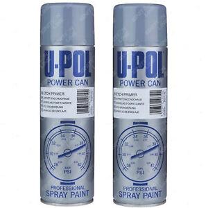 2 x U-Pol Powercan Grey Etch Primer Spray Paint Aerosol Anti-Corrosive 500ml