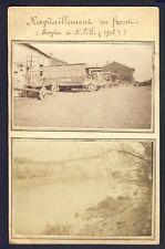 cpa CARTES PHOTOS RPPC RAVITAILLEMENT du FRONT Service de R.V.F. en 1916 Camions