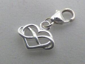 Infinity Heart Clip on Bracelet Charm  Sterling Silver 925  Gift Love