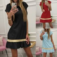 Women Summer Long T-shirt Pure Holiday Ladies Party Short Mini Dress Blouse Top