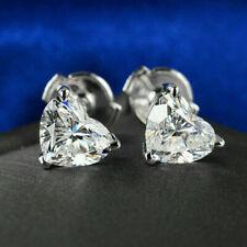 4Ct Heart Cut VVS1/D Diamond Solitaire Stud Women Earrings 14K White Gold Finish