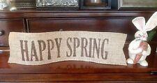 "Primitive Easter Happy Spring Burlap Ribbon Banner Ornament Garland New 4"" x 16"""