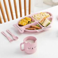 Children Kids Dinner Plate Divided Dish Tray Baby Food Feeding Tableware Set