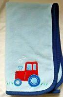 Carter's Child of Mine Blue Boy Baby Blanket Red Tractor Soft Fleece Farm