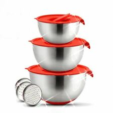 Mixing Bowl with Lids and Grater Steel Non-Slip Stainless Steel Bowls Container