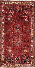 Geometric Tribal Red Bakhtiari Area Rug Wool Hand-Knotted Vintage Carpet 4'x7'