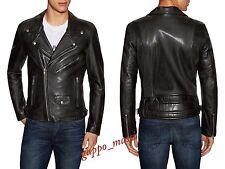 NWT BLK DNM Moto BLACK Mens LEATHER Jacket S SMALL Diesel All Saints Balmain