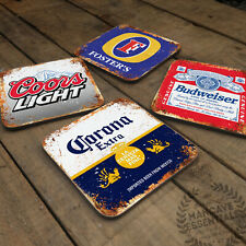 Home Bar Collection Glossy Wooden Coaster Retro Drink Table Mancave Various Beer